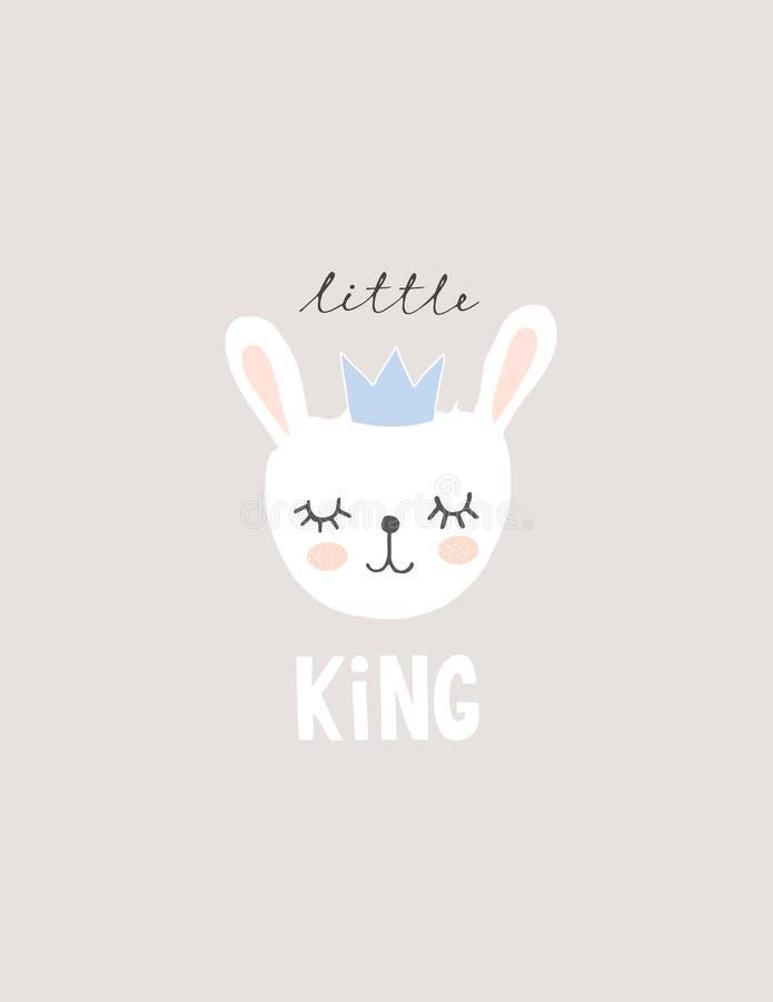 Прекрасная иллюстрация вектора кролика младенца Немногое король Вектор Питомник Искусство иллюстрация вектора