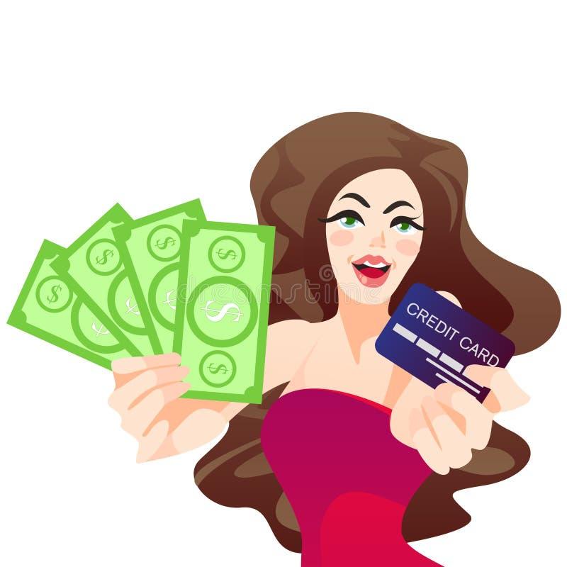 Прекрасный жизнерадостный вентилятор удерживания девушки банкнот денег доллара и положение кредитной карточки изолировали иллюстрация штока