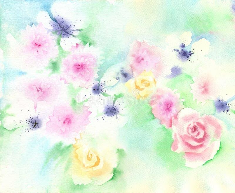 Предпосылка акварели мягкая флористическая бесплатная иллюстрация