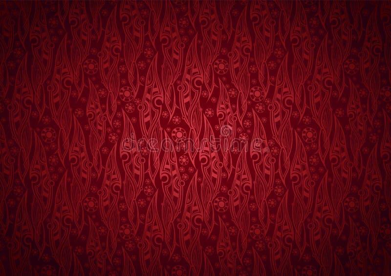 Предпосылка вектора флористическая стилизованной картины в королевском, стиля листьев Дамаска иллюстрация вектора