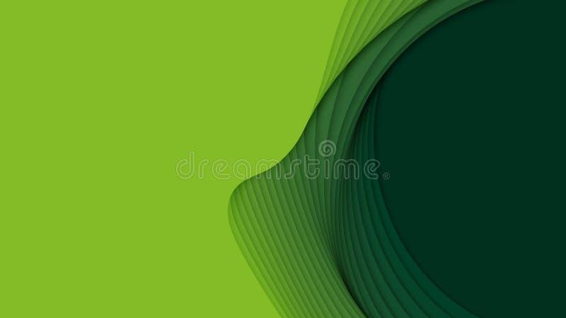 Предпосылка вектора 3D абстрактная с бумажными отрезанными формами Зеленое высекая искусство Ландшафт бумажного ремесла с градиен иллюстрация штока