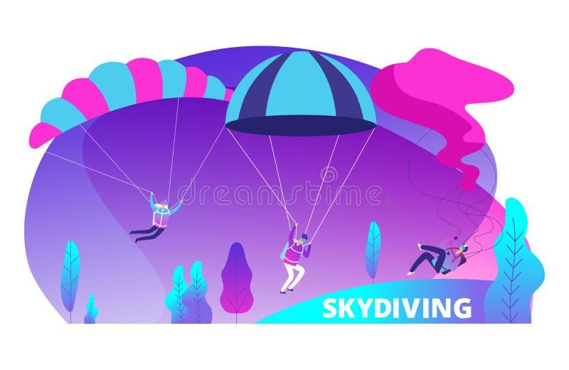 Предпосылка вектора Skydiving с прыгунами мультфильма покрасила бесплатная иллюстрация