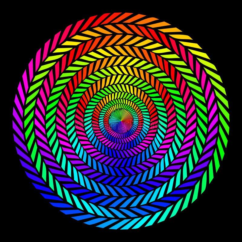 Предпосылка в форме переплетенных спиралей покрашенных лучей на черной предпосылке Иллюстрация вектора для веб-дизайна иллюстрация штока