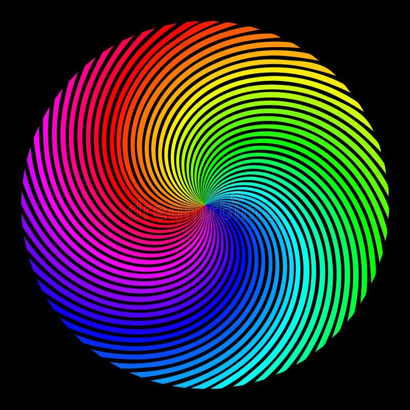 Предпосылка в форме покрашенной сферы лучей вертелась над спиралью иллюстрация вектора