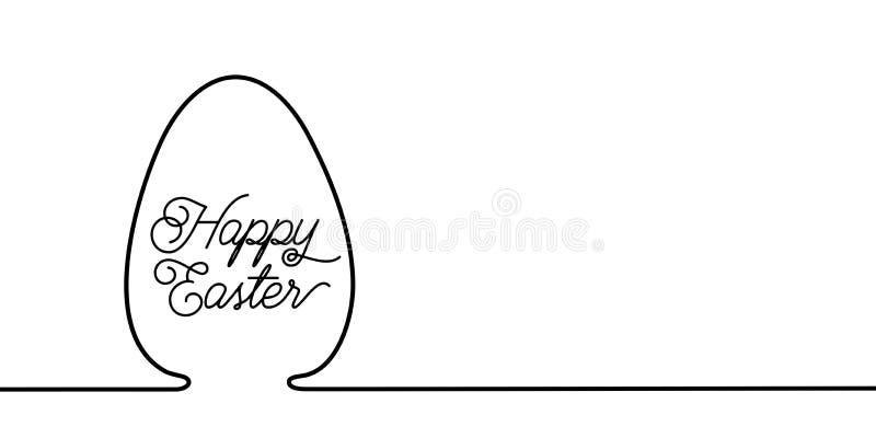 Предпосылка знамени пасхи в простой одной линии стиле с абстрактным яйцом и приветствовать космос текста и экземпляра в правильно иллюстрация штока
