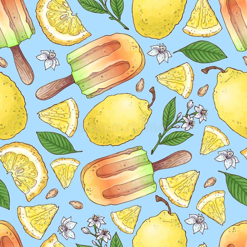 Предпосылка картины мороженого красочные лимон и плод и цитрус мандарина безшовная бесплатная иллюстрация