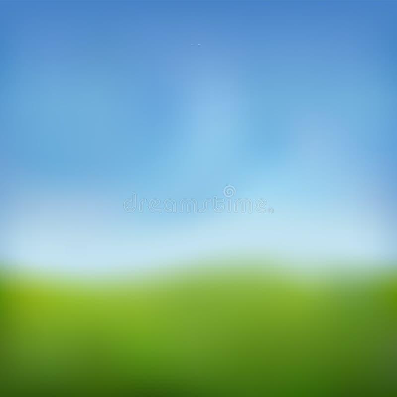 Предпосылка лета Зеленая свежая трава, голубой солнечный дизайн нерезкости неба Абстрактное лето, природа весны Сад красоты, парк иллюстрация штока