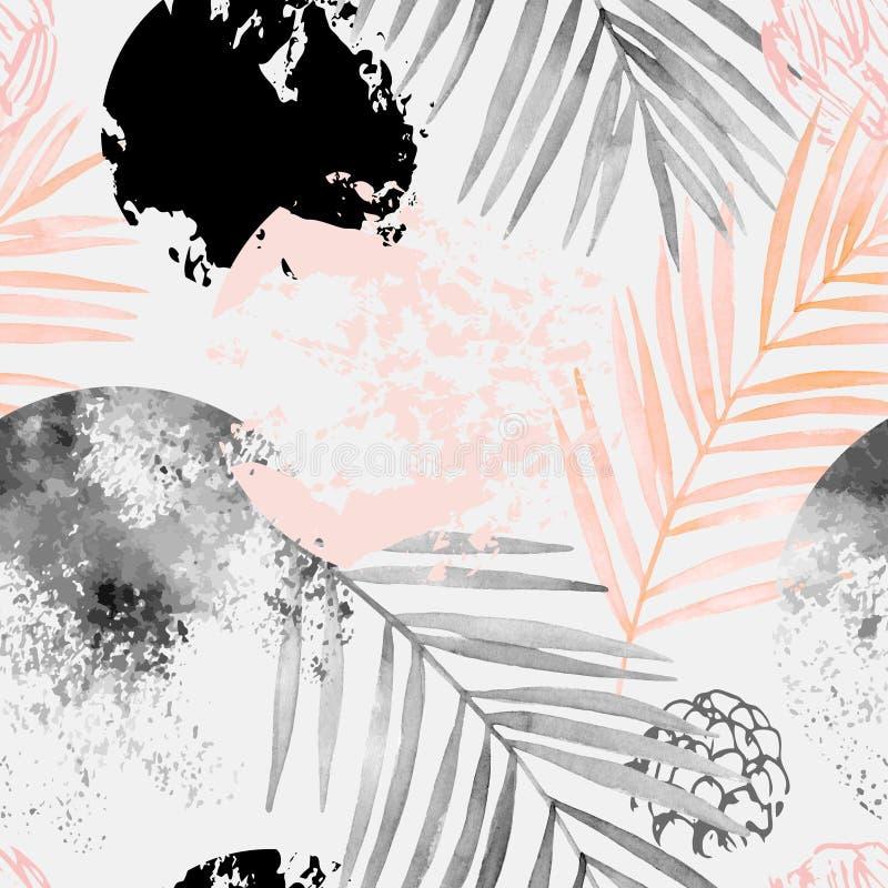 Предпосылка лета руки вычерченная абстрактная тропическая: листья пальмы акварели, grunge, текстуры scribble бесплатная иллюстрация