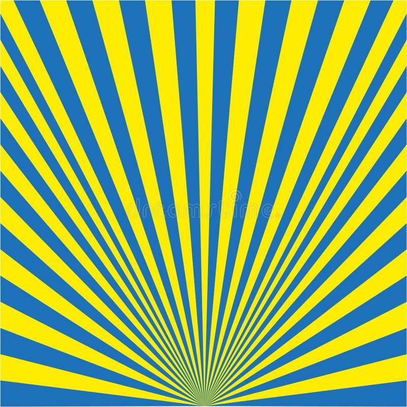 Предпосылка лучей желтых и голубых иллюстрация вектора