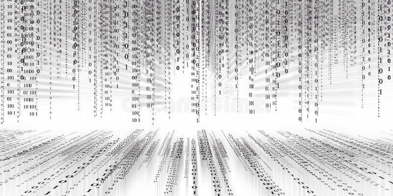 Предпосылка матрицы технологии бинарного кода цифровых данных, код conectivity потока данных футуристический бинарный программиру иллюстрация вектора