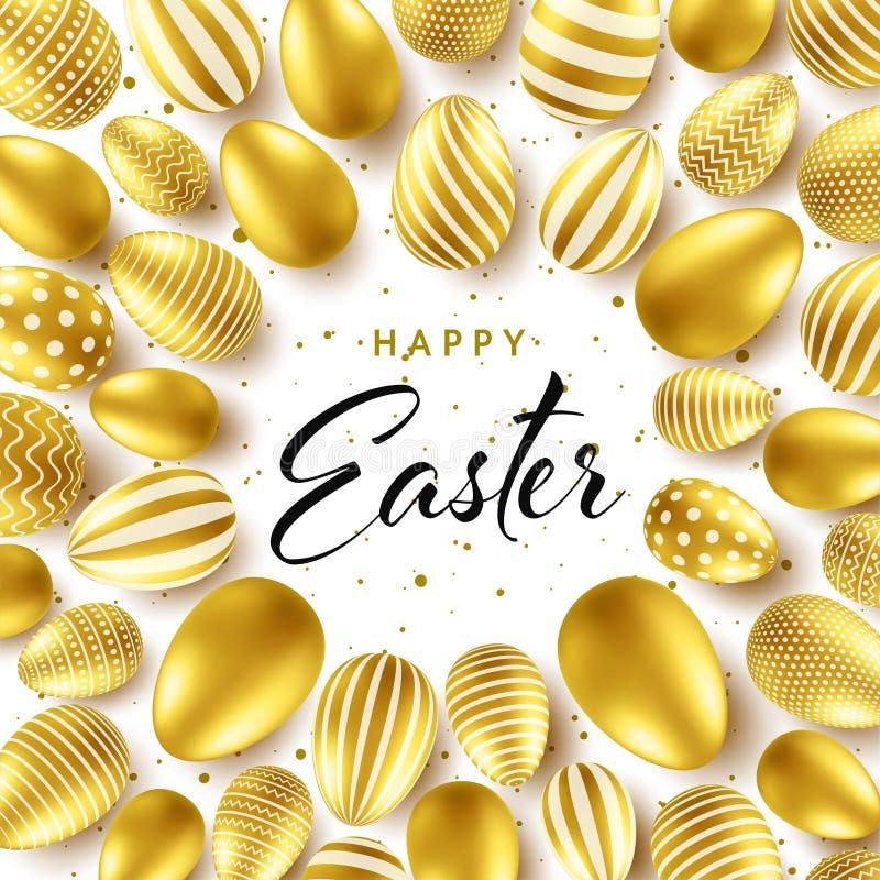 Предпосылка пасхи с реалистическими золотыми яйцами Охота яйца весны Счастливая поздравительная открытка праздника с литерностью  иллюстрация штока