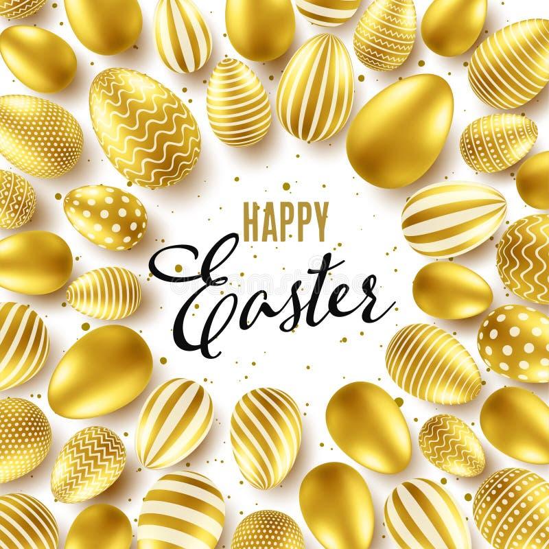 Предпосылка пасхи с реалистическими золотыми яйцами Охота яйца весны Счастливая поздравительная открытка праздника с литерностью  иллюстрация вектора