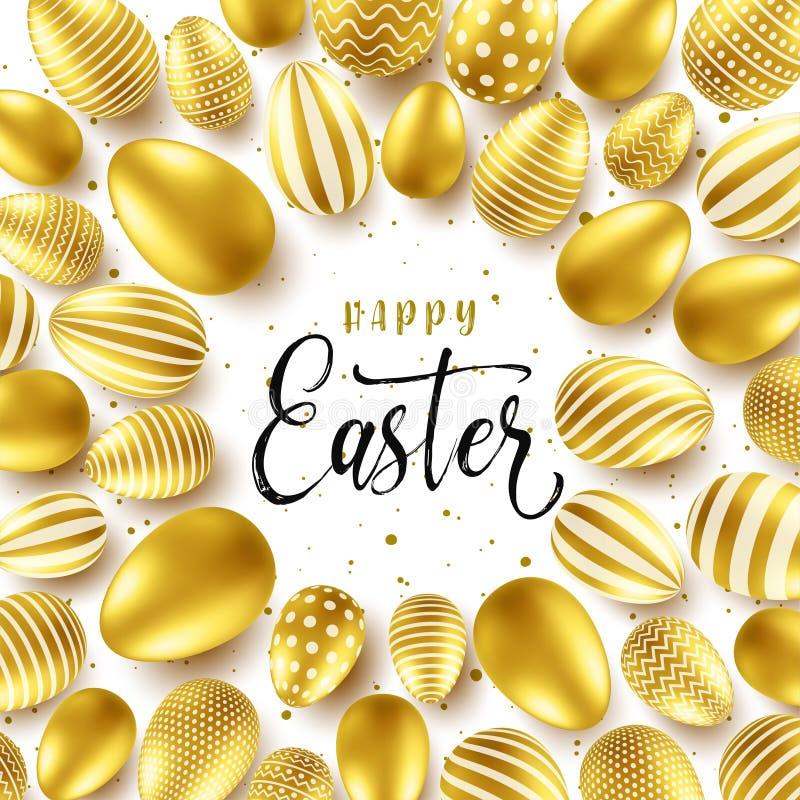 Предпосылка пасхи с реалистическими золотыми яйцами Охота яйца весны Счастливая поздравительная открытка праздника с литерностью  бесплатная иллюстрация