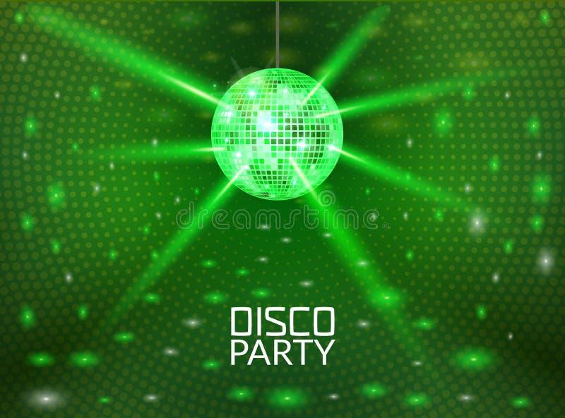 Предпосылка партии диско Дизайн вектора танца музыки для рекламирует Promo дизайна рогульки или плаката шарика диско иллюстрация вектора