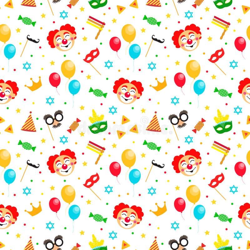 Предпосылка счастливого фестиваля Purim еврейского бесконечная, текстура, обои Картина еврейского праздника Purim безшовная с мас бесплатная иллюстрация