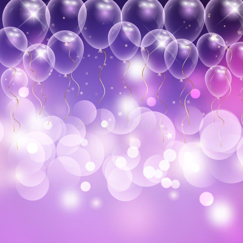 Предпосылка торжества воздушных шаров и светов bokeh бесплатная иллюстрация