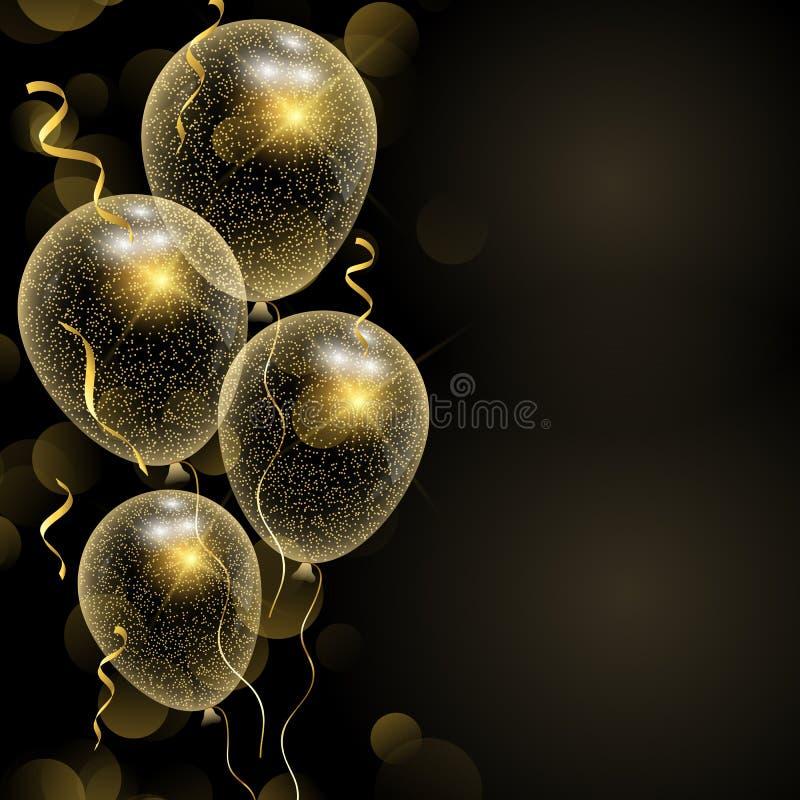 Предпосылка торжества с glittery воздушными шарами золота иллюстрация штока
