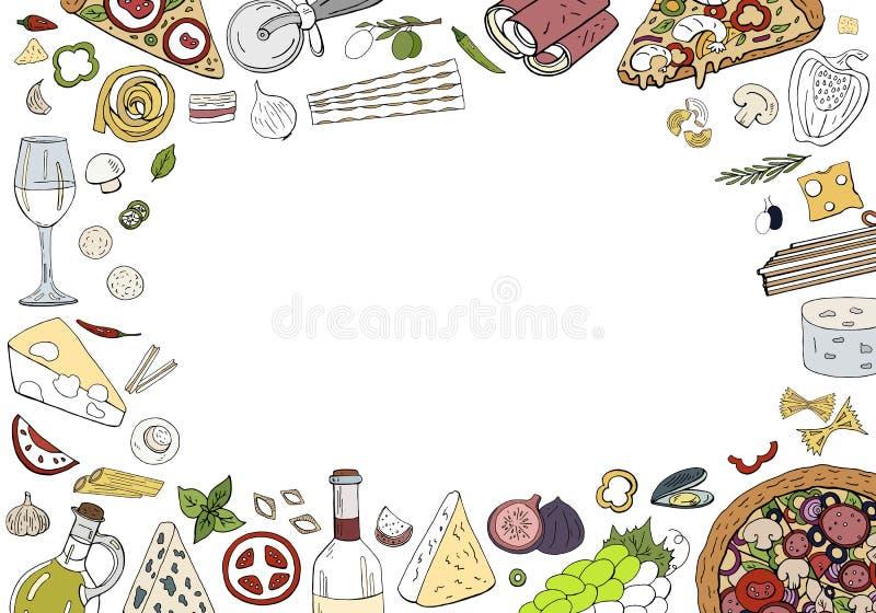 Предпосылка руки вектора вычерченная горизонтальная с итальянской кухней изолированной на белизне Итальянское backgraund пиццы, м иллюстрация вектора