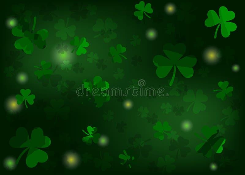 предпосылка patricks с shamrocks и светами Зеленые цветы также вектор иллюстрации притяжки corel бесплатная иллюстрация