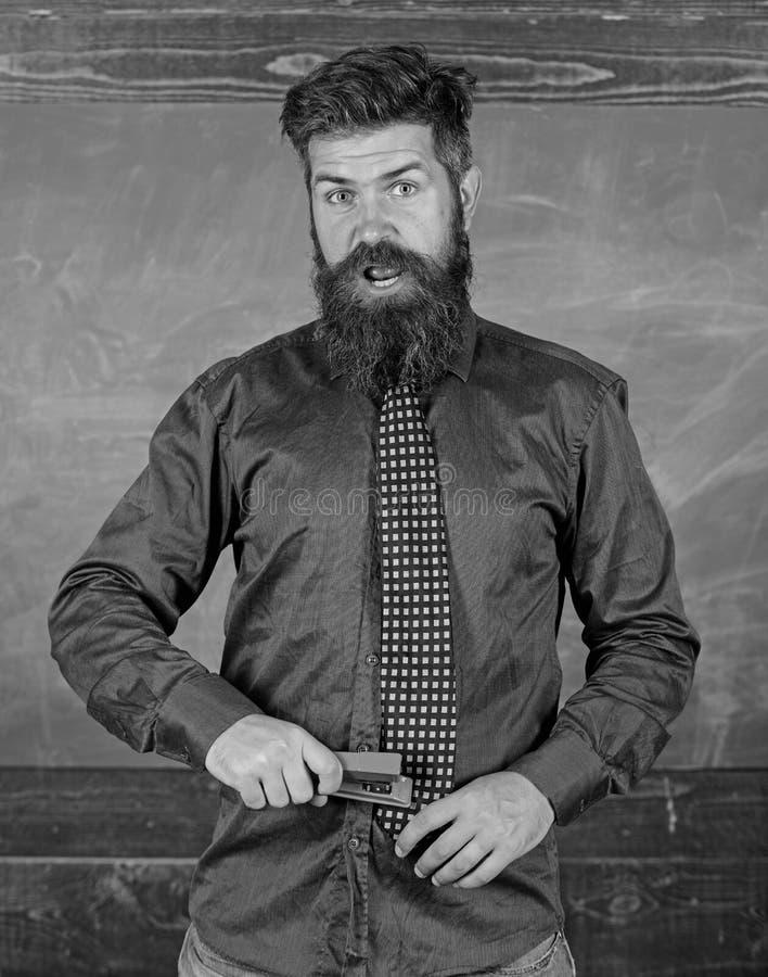 Предохранение аварии школы Человек учителя бородатый с розовой предпосылкой доски сшивателя Обучьте канцелярские принадлежности Ч стоковые фотографии rf
