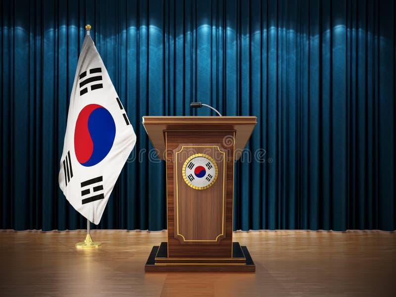 Пресс-конференция с флагами Южной Кореи и аналоя против голубого занавеса иллюстрация 3d иллюстрация вектора