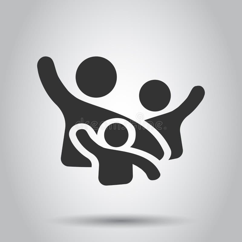 Приветствие семьи с рукой вверх по значку в плоском стиле Иллюстрация вектора жеста человека на белой предпосылке Дело руководите иллюстрация вектора