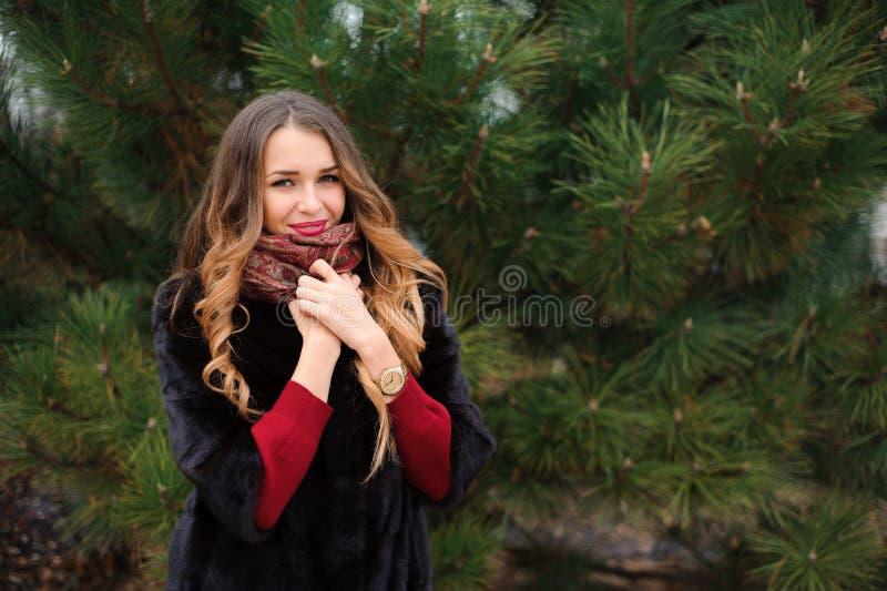Привлекательная женщина идя в парк во дне осени стоковое фото