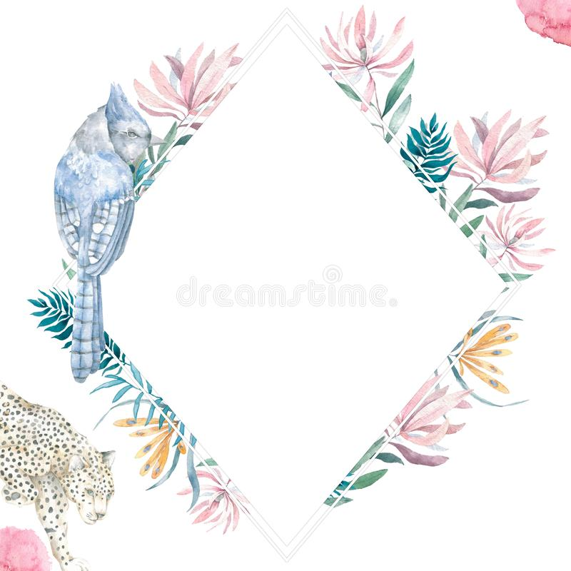 Приглашение свадьбы, флористическое приглашает карту, розовые цветки и зеленые листья геометрическую Рамка прямоугольника косоуго стоковые фотографии rf
