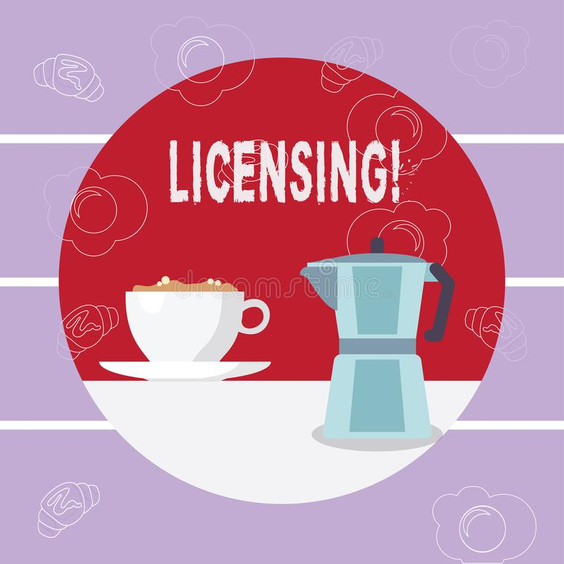 Примечание сочинительства показывая лицензировать Фото дела showcasing Grant лицензия законно для того чтобы позволить пользу что иллюстрация вектора