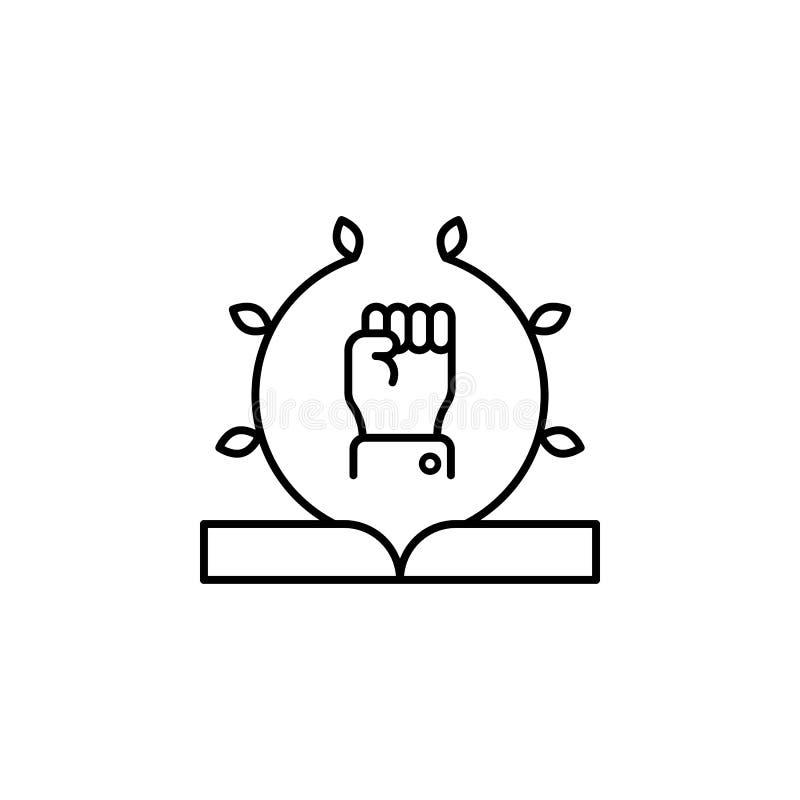 Присяга, рука, значок книги Элемент значка закона и правосудия Тонкая линия значок для дизайна вебсайта и развития, развития app иллюстрация штока