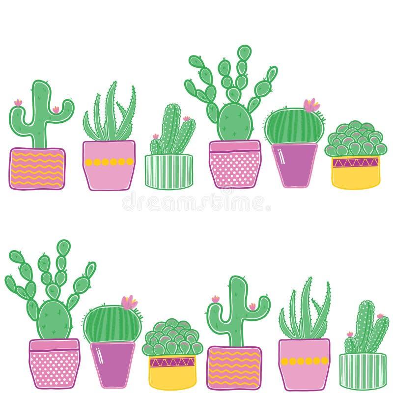 Причудливые графики кактуса иллюстрация вектора