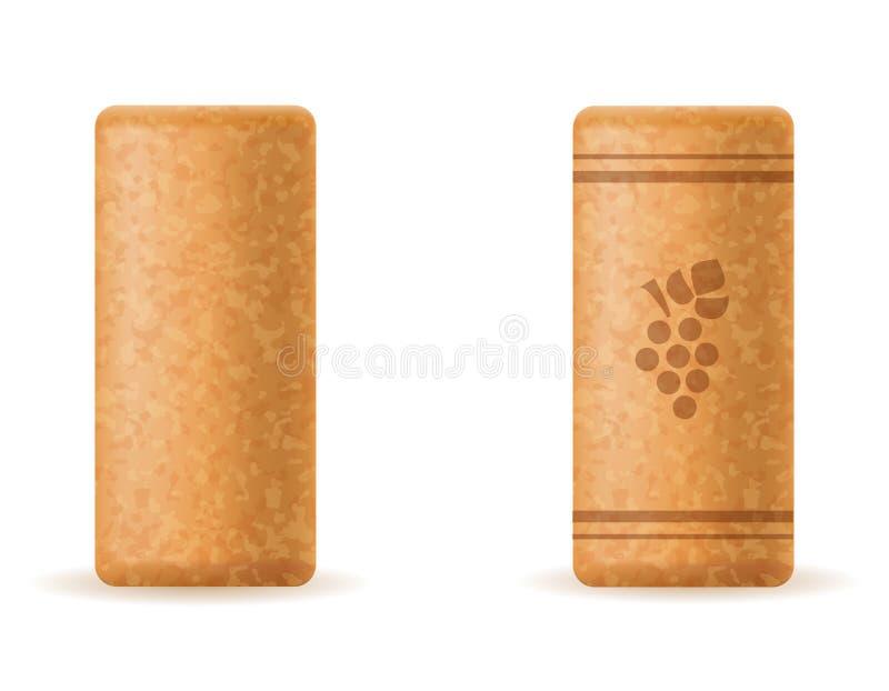 Пробочка Corkwood для иллюстрации вектора бутылки вина иллюстрация вектора