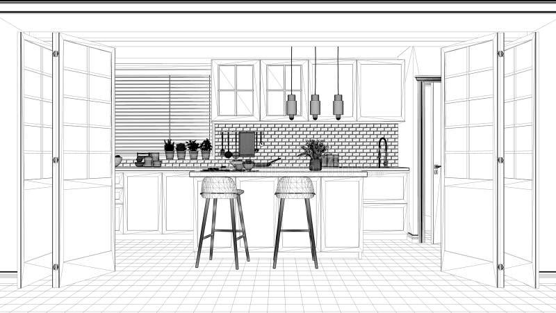 Проект дизайна интерьера, черно-белый эскиз чернил, светокопия архитектуры показывая скандинавскую minimalistic кухню с островом иллюстрация штока