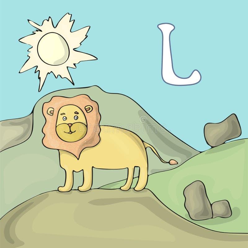 Проиллюстрированное письмо l алфавита и лев Мультфильм вектора изображения книги ABC Лев стоит на холме в safar Проиллюстрированн иллюстрация штока
