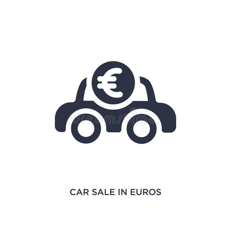 продажа автомобиля в значке евро на белой предпосылке Простая иллюстрация элемента от концепции mechanicons бесплатная иллюстрация