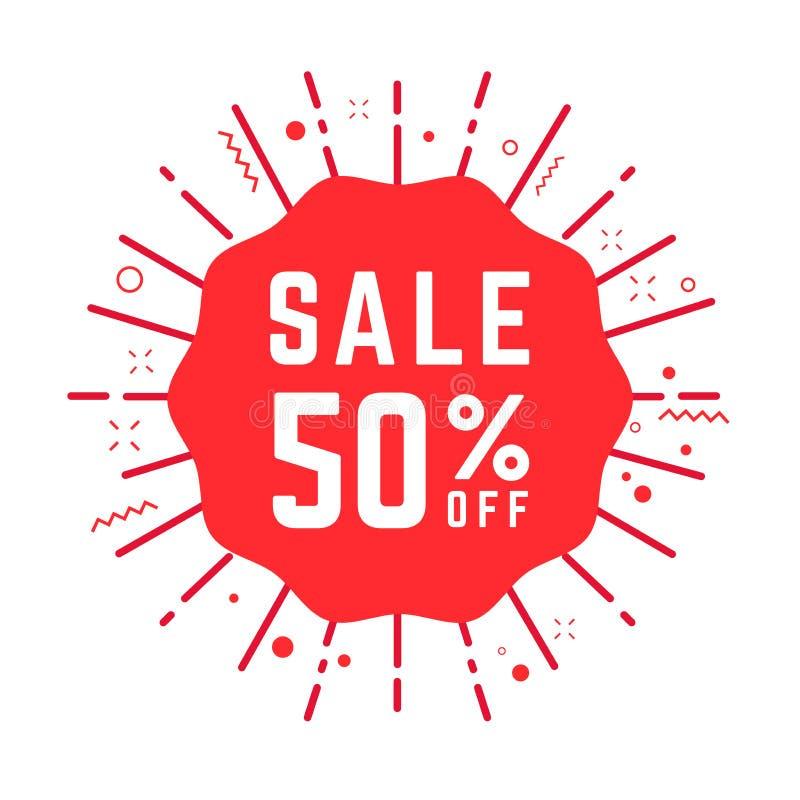 Продажа 50% особенного предложения с красной бирки Уцените ярлык цены предложения, символ для рекламной кампании в рознице иллюстрация штока