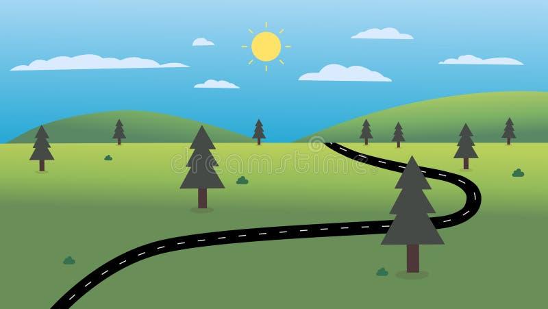 Проселочная дорога с иллюстрацией вектора предпосылки ландшафта и неба природы Красивый дизайн сцены природы бесплатная иллюстрация