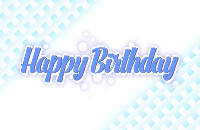 Простая поздравительная открытка дня рождения в голубом цвете иллюстрация штока