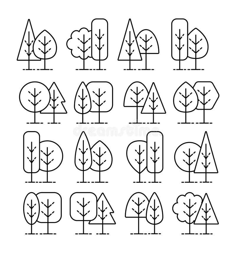 Простые геометрические символы дерева Линия значок установила заводов леса Знаки природного парка & сада Изолированный предмет иллюстрация вектора