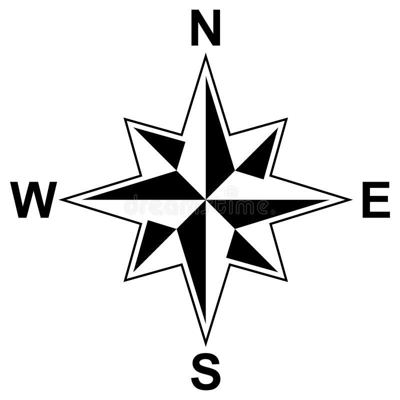Простой символ вектора лимба картушки компаса для морской или морской навигации и также для включения в карте на изолированной бе бесплатная иллюстрация