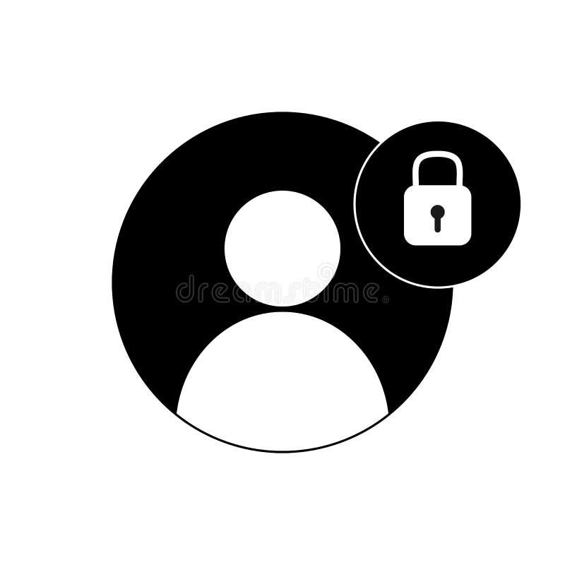 Простой чертеж защита личных данных, силуэт человека и замок иллюстрация вектора