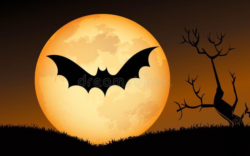 против летучих мышей полный halloween преследовал место тыквы луны дома иллюстрация вектора