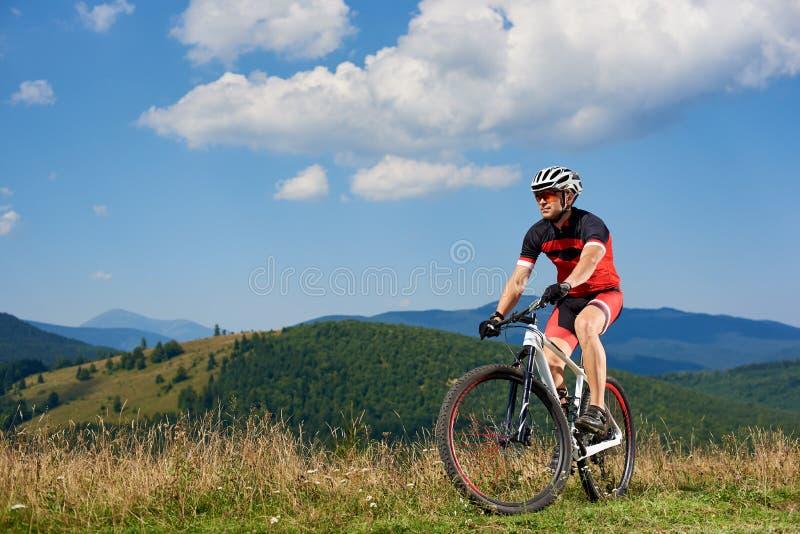 Профессиональный велосипедист спортсмена в sportswear и шлем задействуя велосипед в высокой траве стоковое изображение