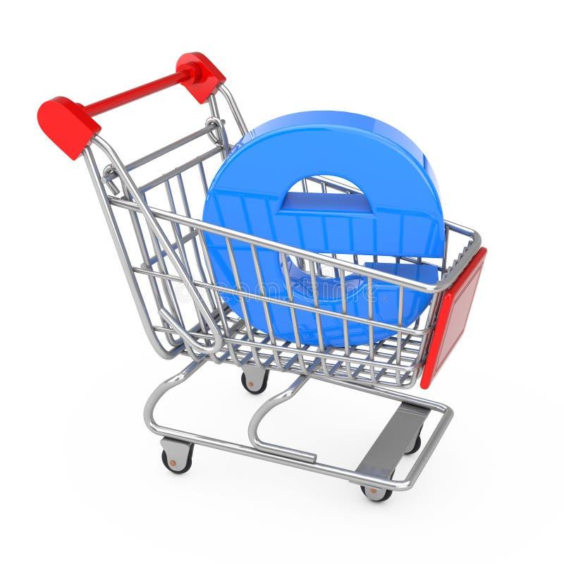 прочешите клавиатура рук кредита e принципиальной схемы компьютера коммерции Вагонетка корзины с голубым письмом e как электронна иллюстрация вектора
