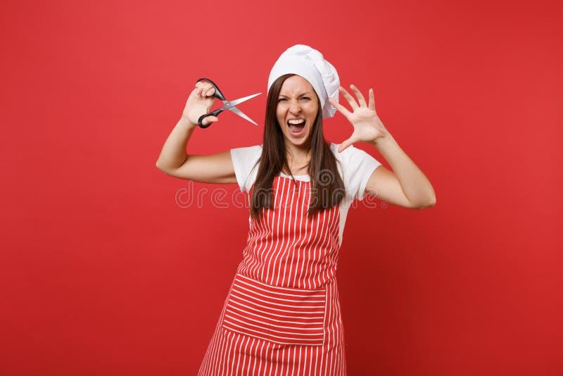 Повар или хлебопек шеф-повара домохозяйки женские в striped рисберме, белой футболке, шляпе шеф-поваров toque изолированной на кр стоковое изображение