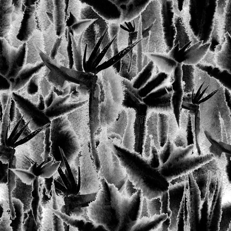 Повторение черно-белой тропической краски связи акварели печати картины джунглей безшовной бесконечное иллюстрация вектора
