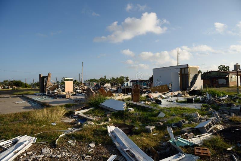 Повреждение и разрушение ветра Харви урагана главные стоковое фото