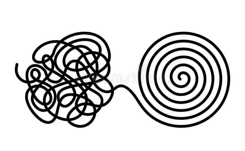 Повороты хаоса и разлада в сформированный даже путать с одной линией Теория хаоса и заказа Плоская изолированная иллюстрация вект иллюстрация штока