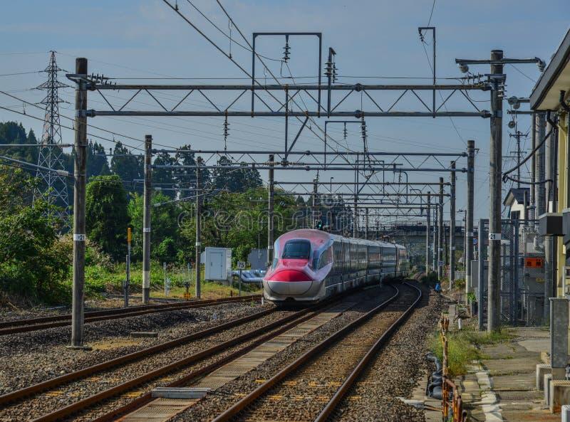 Поезд Shinkansen останавливая на железнодорожном вокзале стоковое фото
