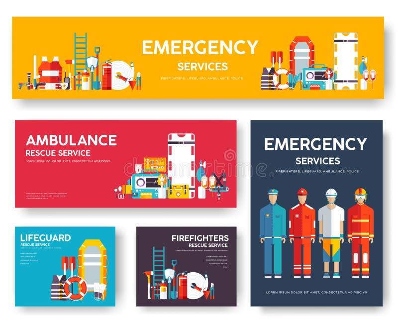 Пожарный, сплавляя, полиция, комплект шаблона карточек спасения медицины Плоский значок flyear, кассеты дизайна, плакаты, книга иллюстрация вектора